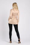 Beige Long Sleeve Blazer with Corset Detail