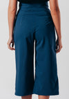 Dark Blue High Waist Wide Leg Cropped Trousers