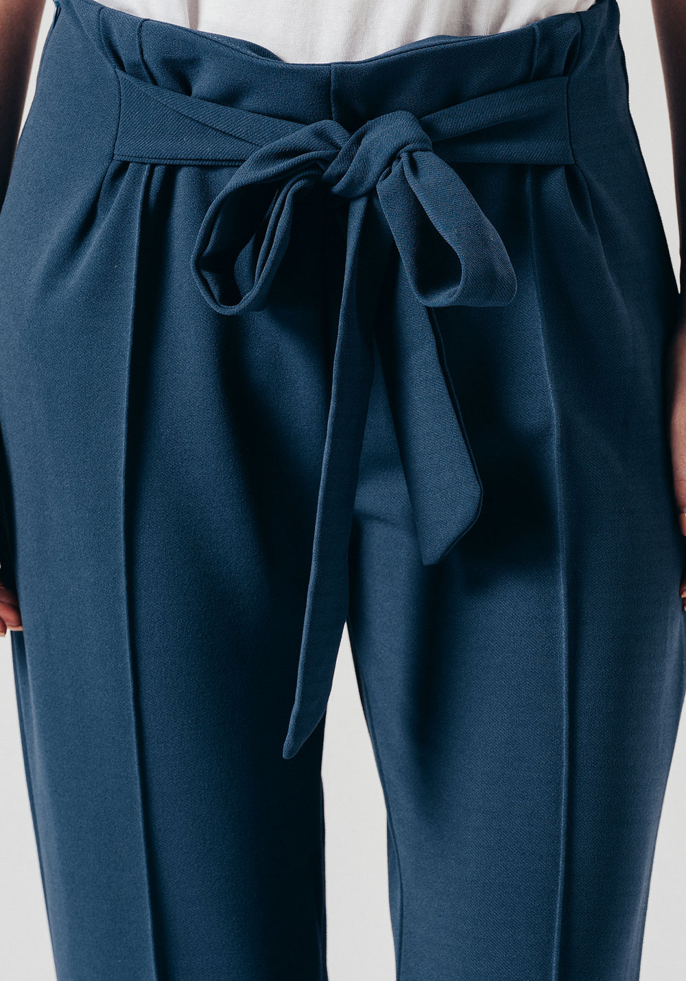 Blue Cord Trousers With Fabric Belt