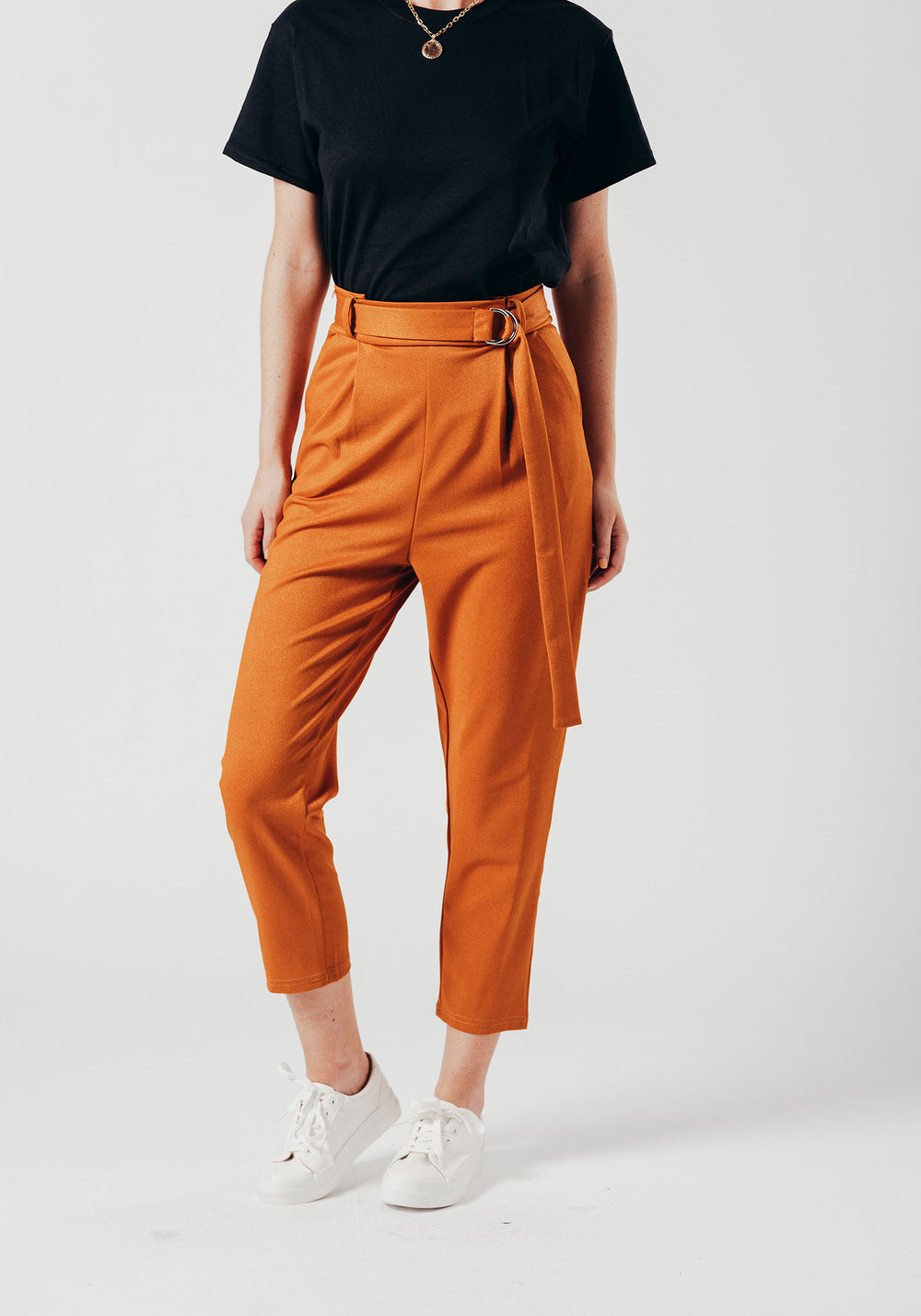 Yellow High Waist Trousers with a belt