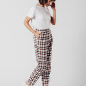 High Waist Check Trousers
