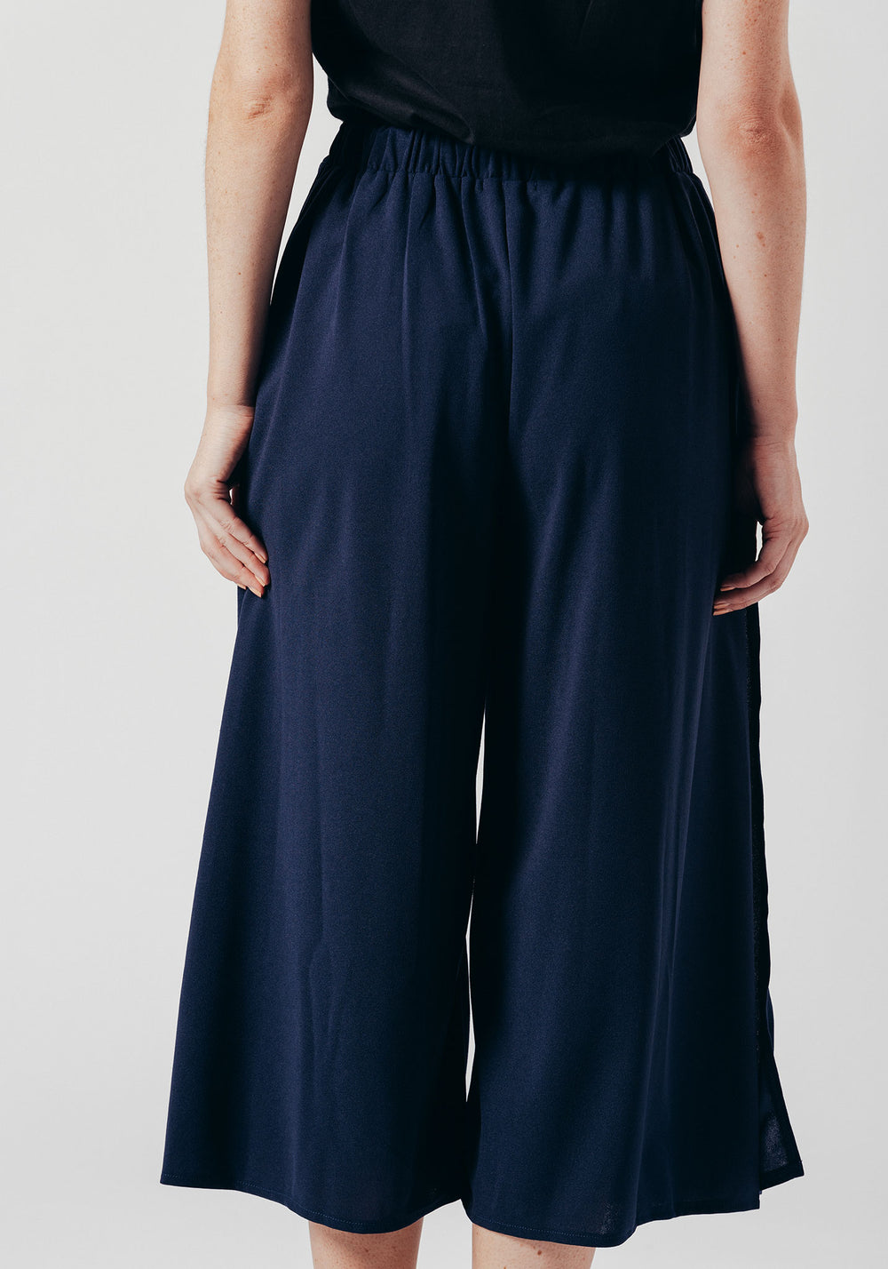 Blue Pleated High Waist Cropped Trouser with Buttons