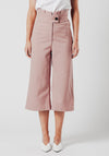 Pink High Waist Wide Leg Cropped Trousers
