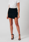 Black Sequin Detail Mini Skirt