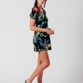 Black Tropical Floral Mini Dress With Lace-up Back