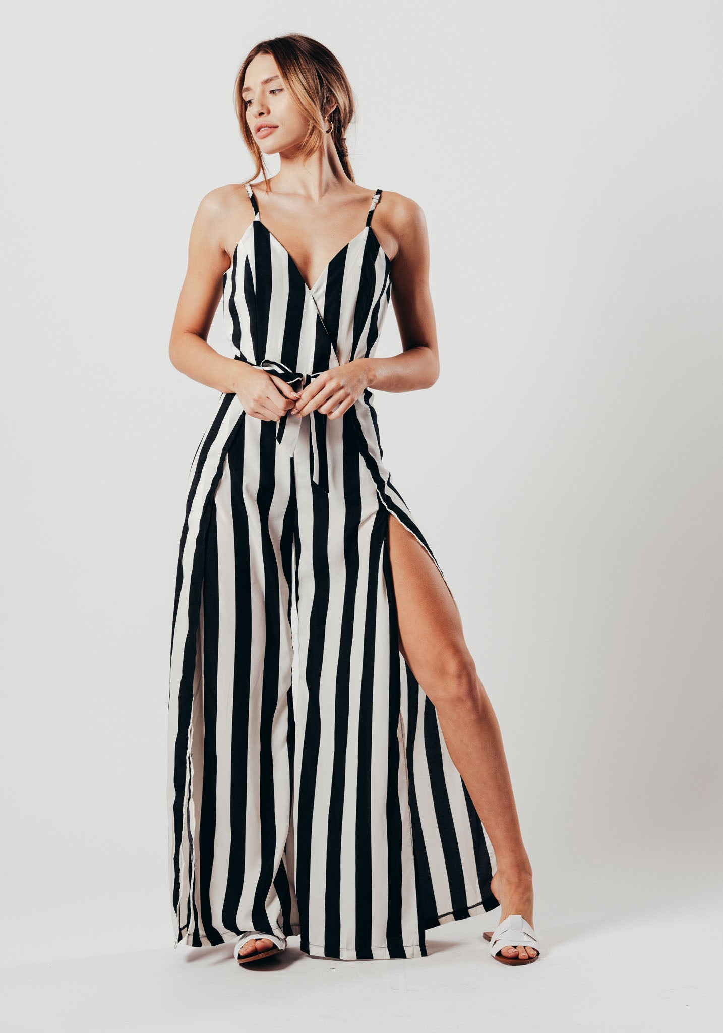 908eaafb29c1 Black And White Stripe Split Leg Jumpsuit