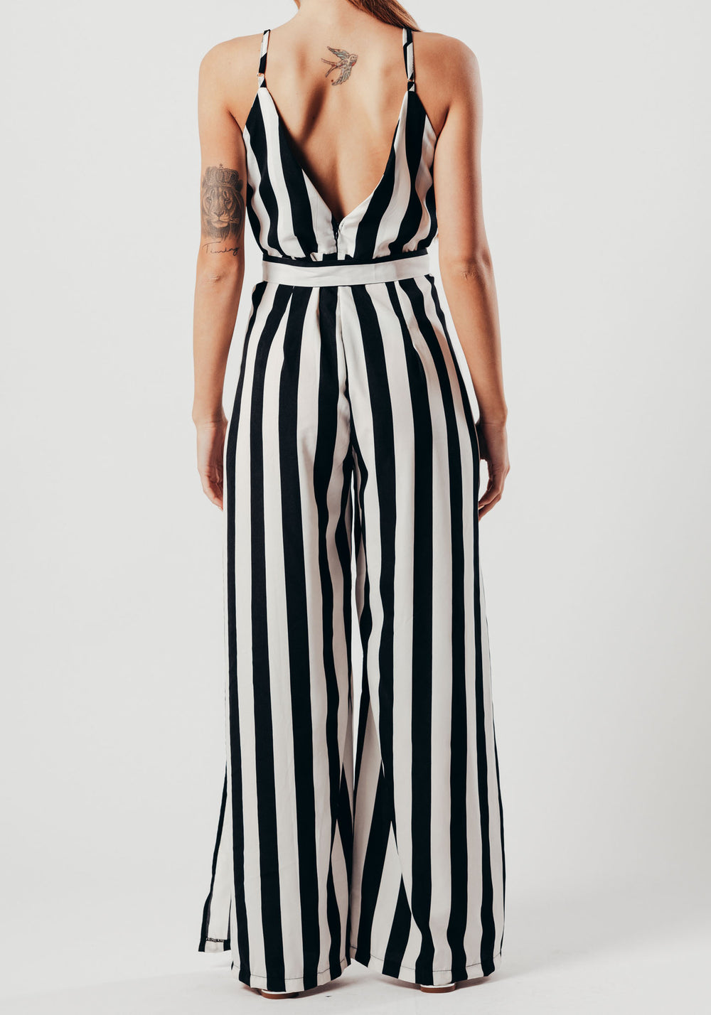 Black And White Stripe Split Leg Jumpsuit