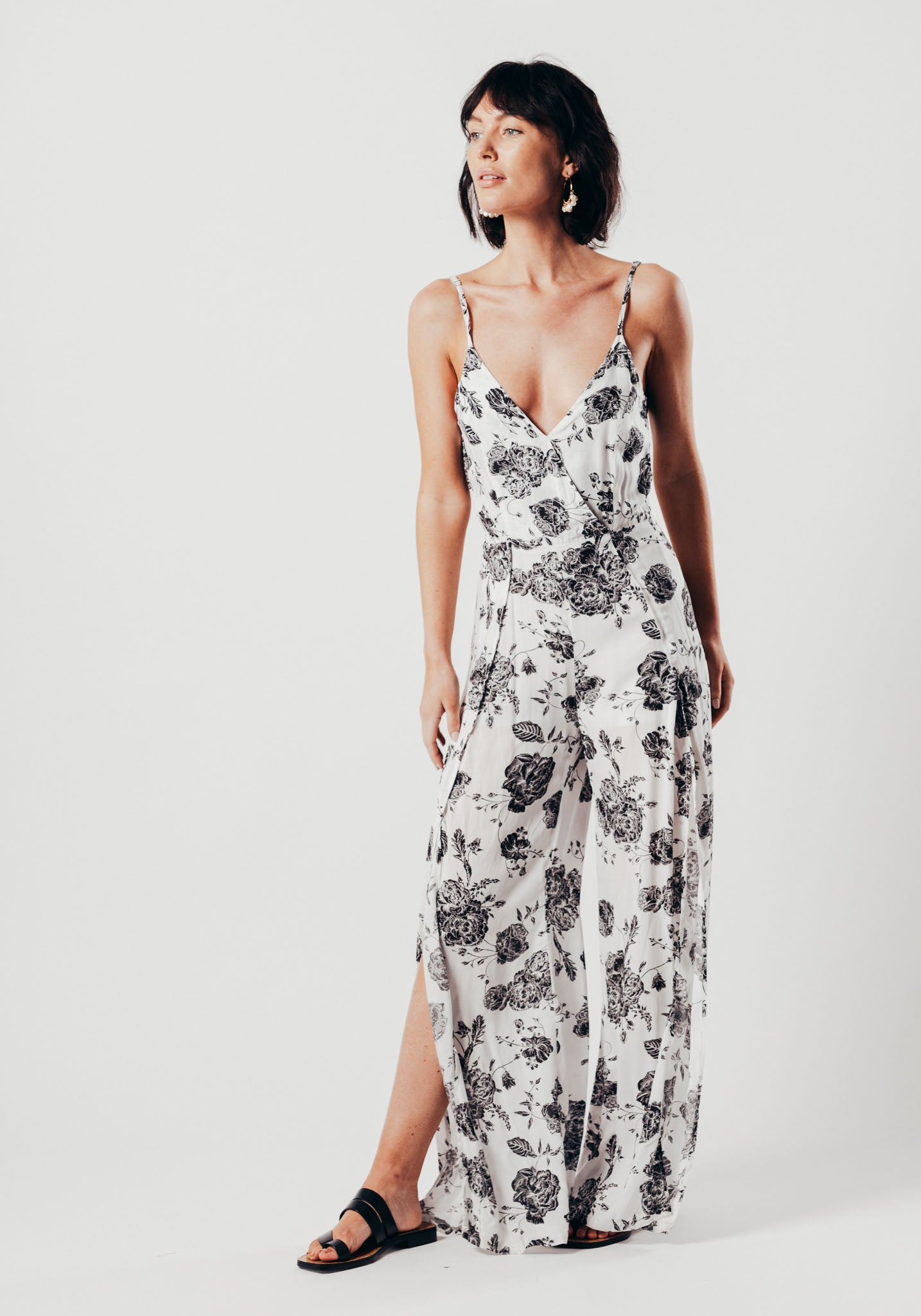 5015f1291e6b White And Black Floral Split Leg Jumpsuit