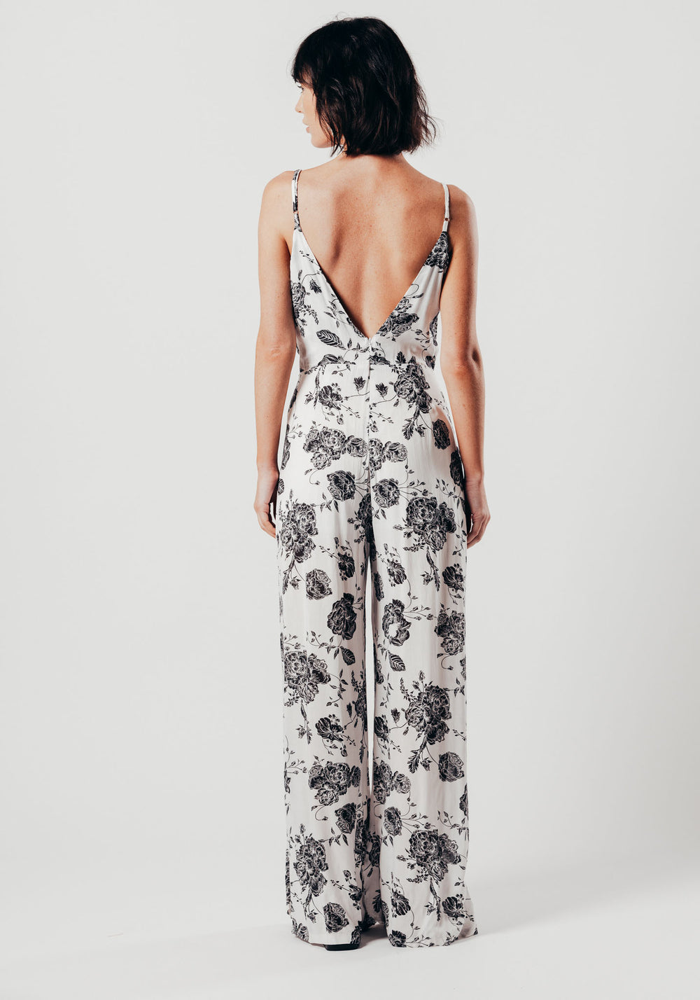 White And Black Floral Split Leg Jumpsuit