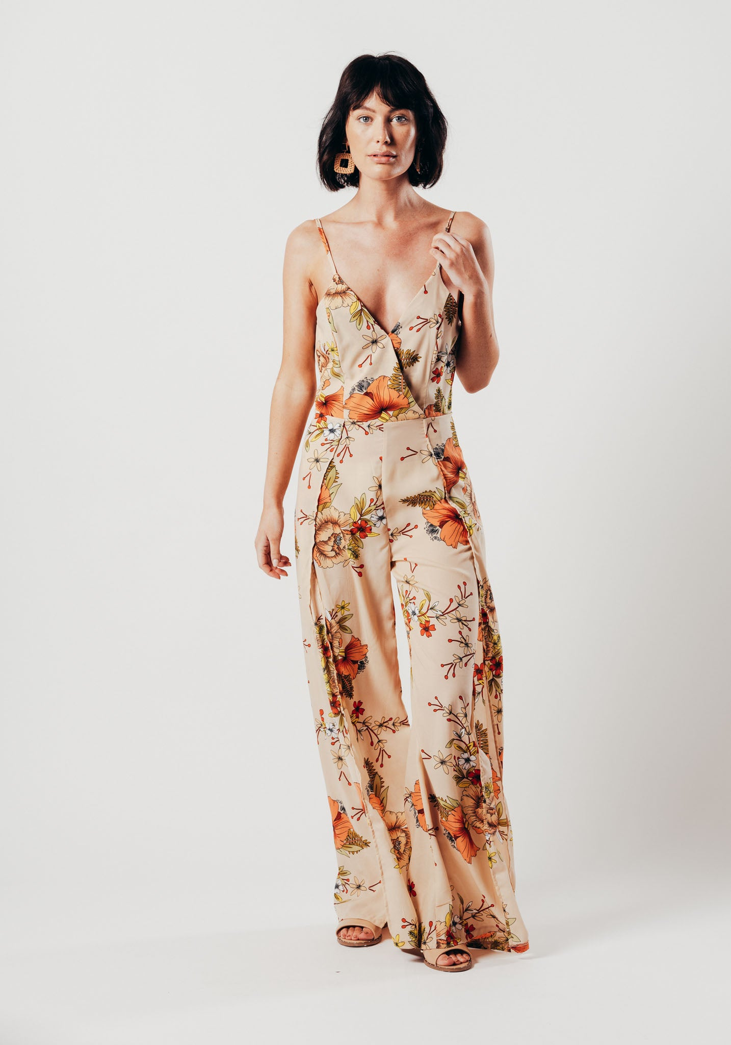 ccc1fdc1682b Nude And Orange Floral Print Jumpsuit