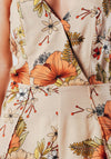 Nude And Orange Floral Print Jumpsuit