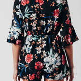 Floral Print Playsuit With Tie Front