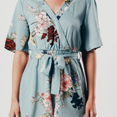 Green Floral Print Wrap Style Playsuit