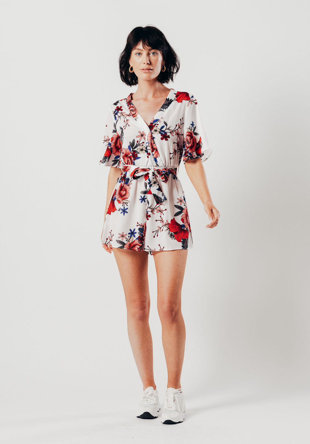White Floral Print Wrap Style Playsuit