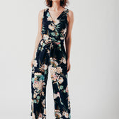 Floral Navy Wrap Over Style Jumpsuit