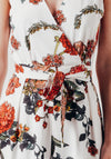 Floral White Wrap Over Style Jumpsuit