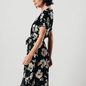 Black Floral Print V-Neck Midi Dress