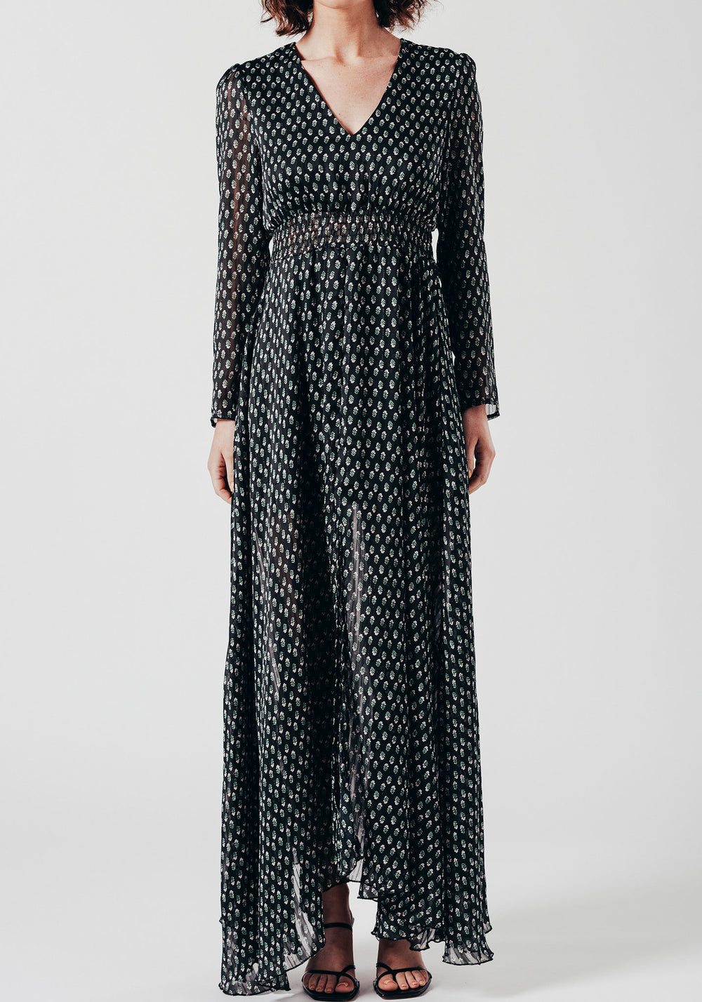 Chiffon Long Sleeve Maxi Dress with Black Ditsy Print