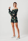 Flamingo Print Fitted Mini Dress