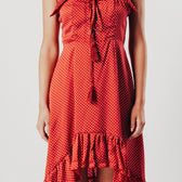 Red Polka Dot waterfall Hem Midi Dress