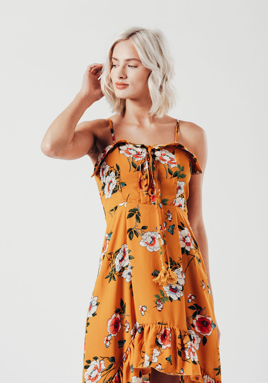 Yellow Floral Waterfall Hem Midi Dress