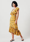 Yellow Floral V-Neck Midi dress