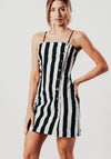 Black And White Stripe Mini Dress With Press Studs