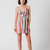 Striped Tie Front Mini Dress