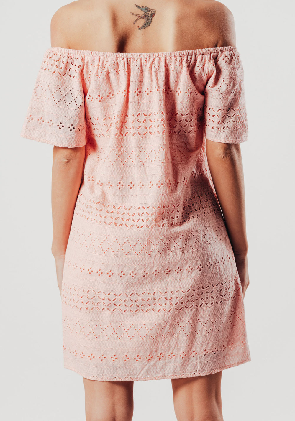 Pink Bandeau Embroidered Dress