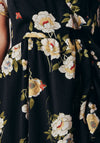 Frill Asymmetric Black Floral Wrap Over Maxi Dress