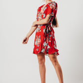 Red Floral Wrap Over Dress