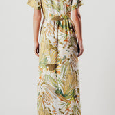 Frill Asymmetric White Floral Wrap Over Maxi Dress