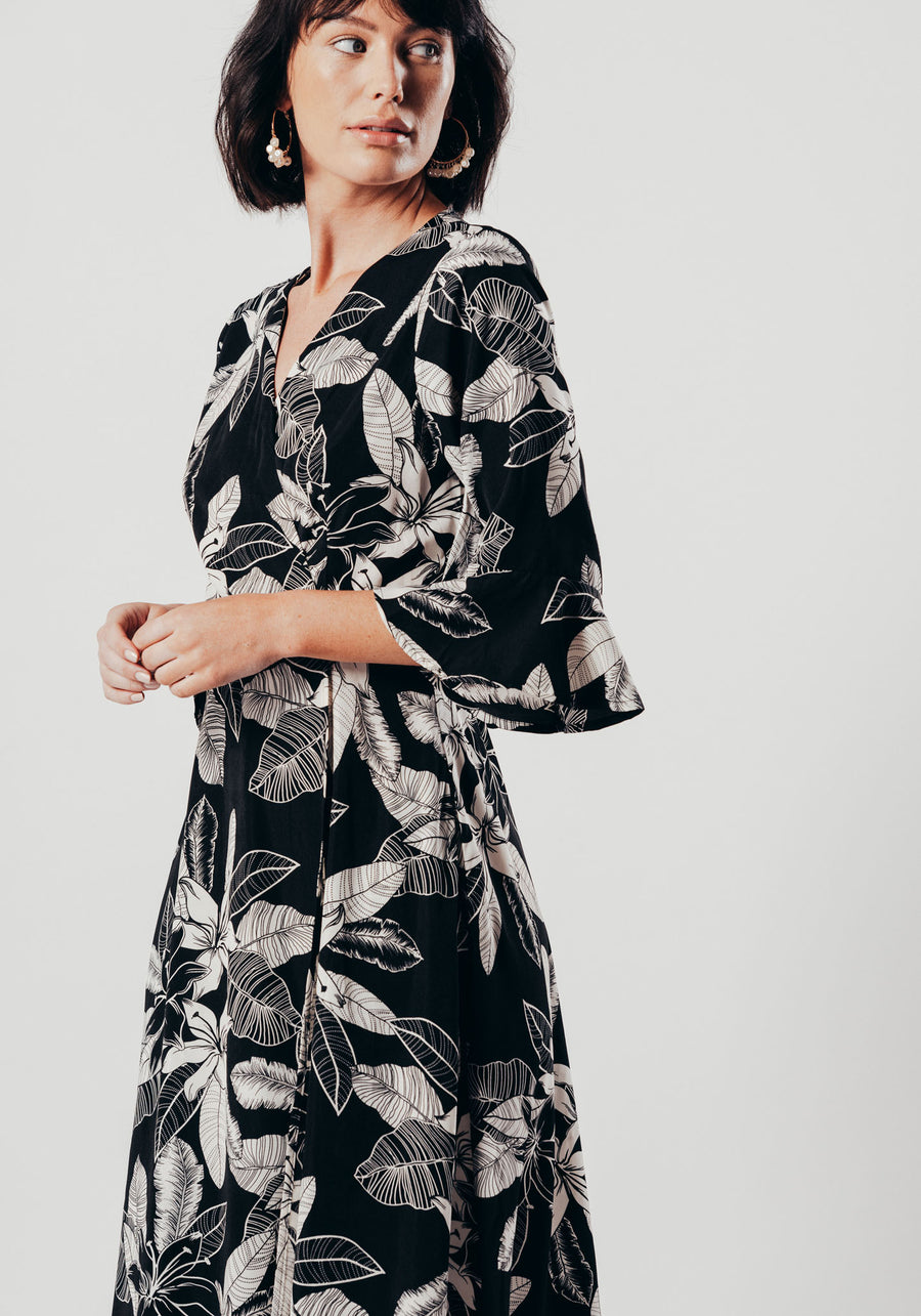 Black And White Floral Wrap Dress