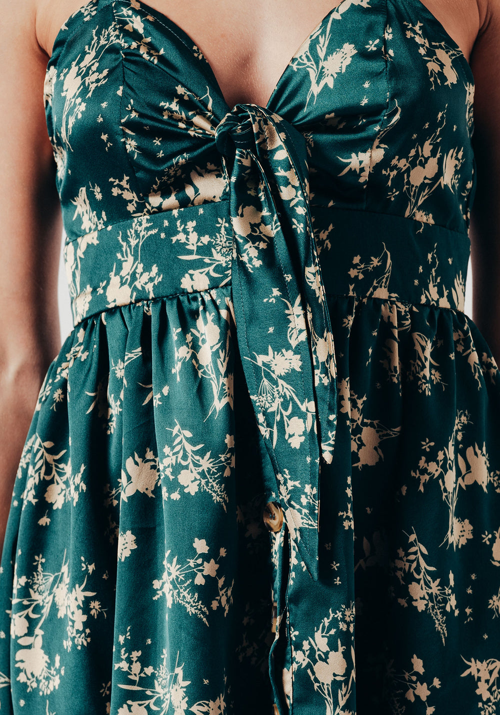 Mini Satin Skater Dress In Green Floral