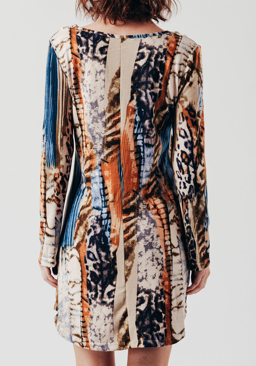 Long Sleeve Swing Dress in Multi Abstract Print