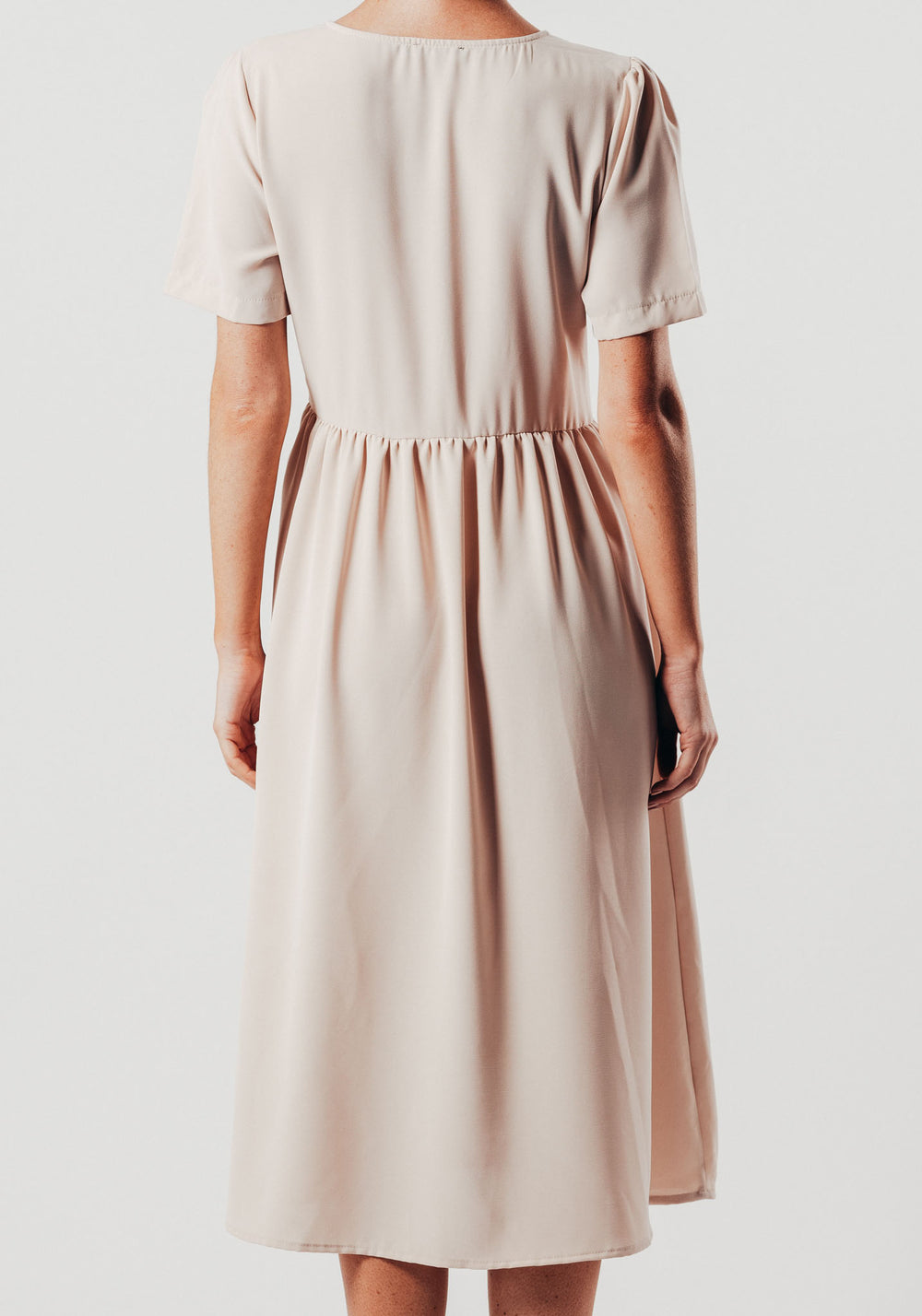 Cream Button Up Midi Dress