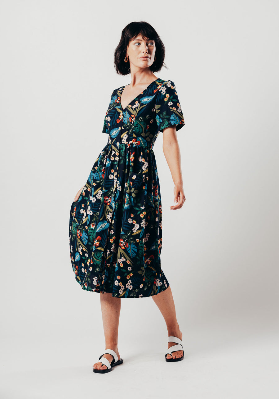 Navy Floral Print Button Up Midi Dress