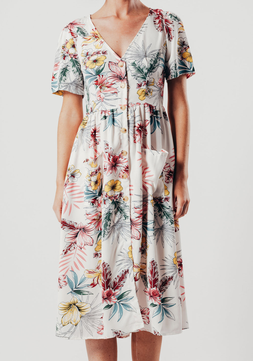 White Floral Print Button Up Midi Dress