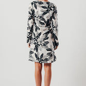 Black And White Floral Asymmetric Dress