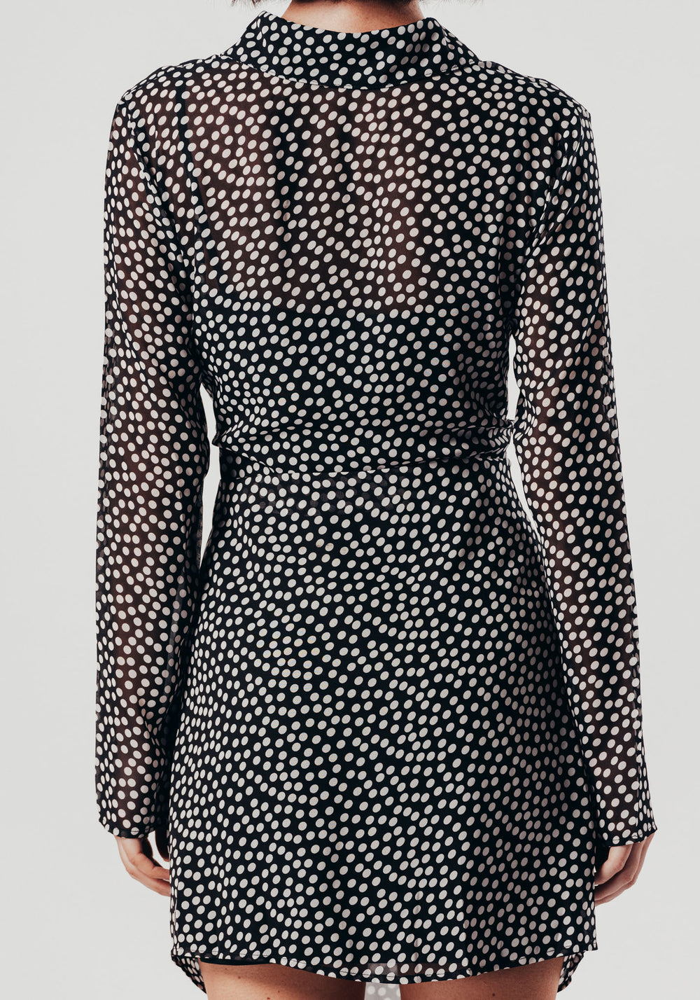 Polka Dot Sheer Shirt Dress With Front Tie