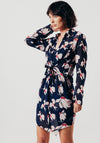 Blue Floral Sheer Shirt Dress With Front Tie