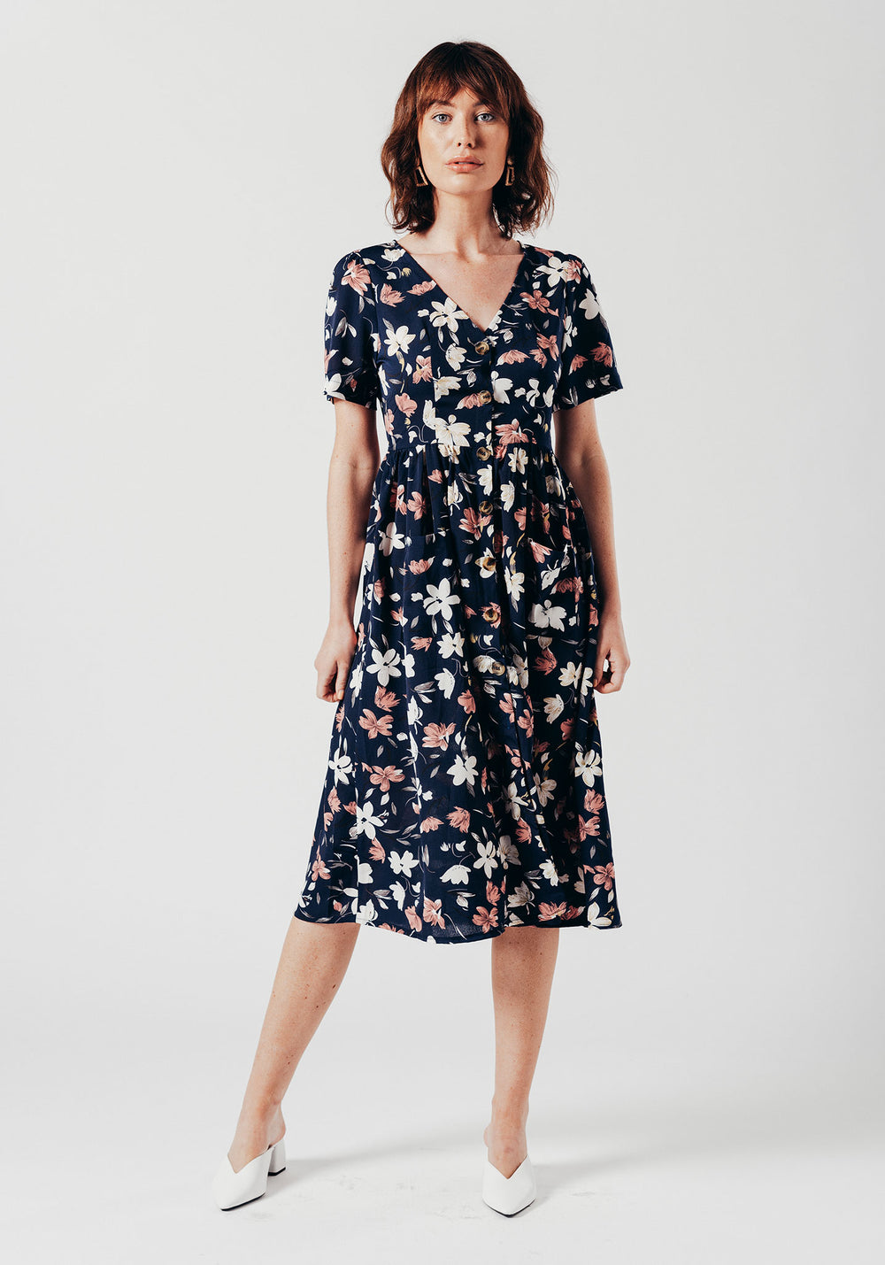 Navy Floral Print in Short Sleeve Midi Dress