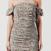Ruched Square Neck Mini Dress in Green Ditsy Print