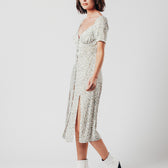Green Ditsy Floral Print Midi Dress With Two Side Splits