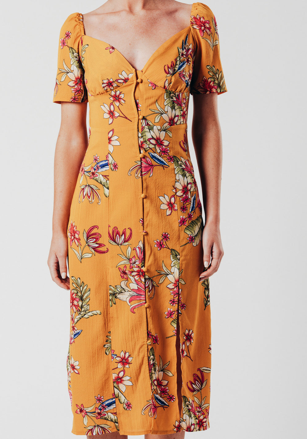 Short Sleeve Midi Dress with Side Split in Yellow Floral Print