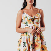 Pink Mini Sunflower Print Dress With Tie Front