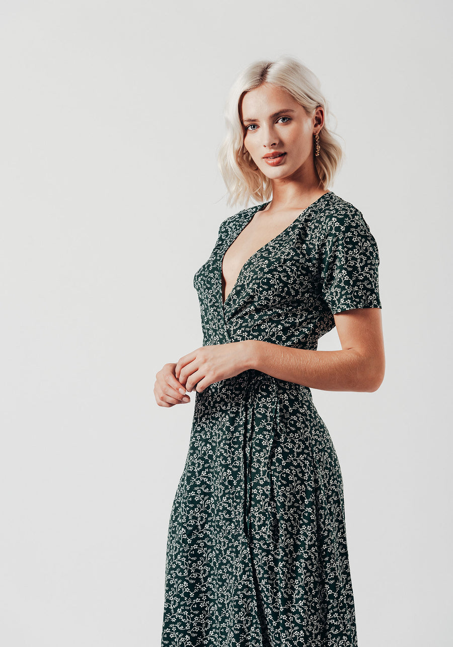 Green Ditsy Floral Print Wrap Maxi Dress