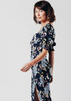 Dark Blue Floral Midi Dress With Side Split
