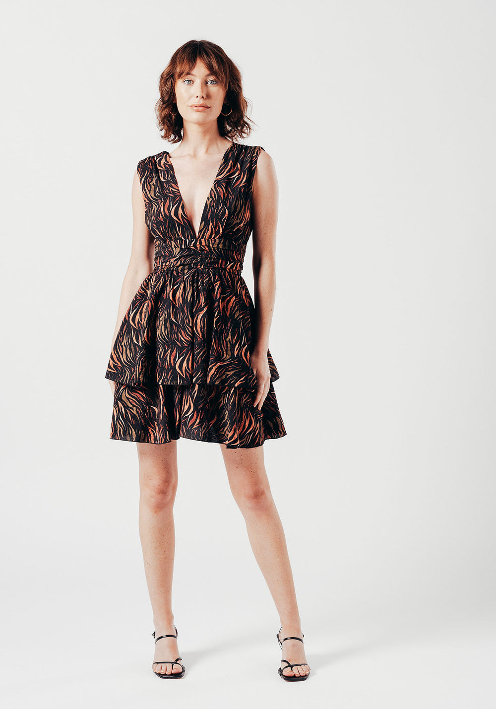 Deep Plunge Skater Dress in Black Abstract Print