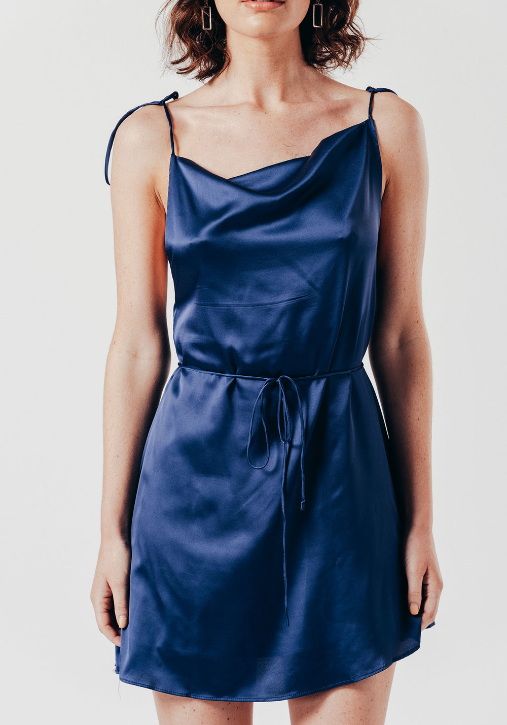 Navy Satin Mini Dress